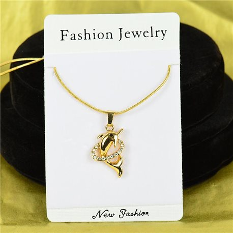 Necklace Rhinestones Pendant IRIS Gold Color Chain snake mesh L40-45cm 75884