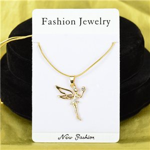Necklace Rhinestones Pendant IRIS Gold Color Chain snake mesh L40-45cm 75904