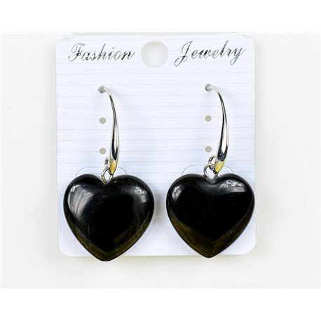 1p Earrings 20mm Natural Stone Obsidian on Silver Metal 75947