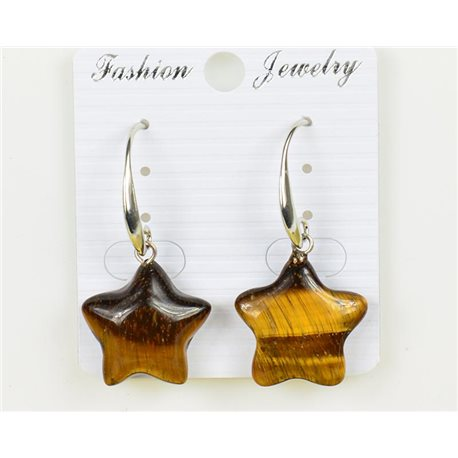 1p Earrings 20mm Natural Stone Tiger's Eye on Silver Metal 75956