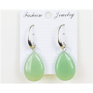 1p Earrings 25mm Natural Stone Aventurine on Silver Metal 75970