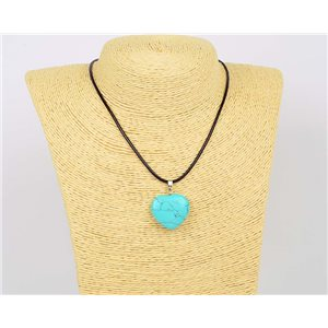 Necklace pendant 25mm natural stone Turquoise on waxed cord L43-47cm 75914