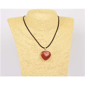 Necklace 25mm natural stone SandStone on waxed cord L43-47cm 75916
