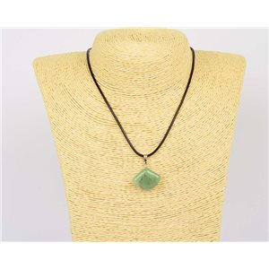 Pendant necklace 20mm natural stone Aventurine waxed cord L43-47cm 75928