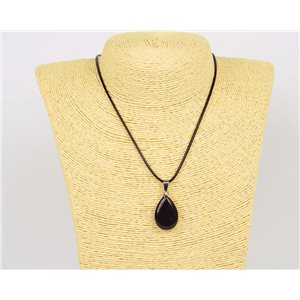 Pendant necklace 25mm natural stone Obsidian on waxed cord L43-47cm 75929