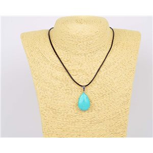 Pendant Necklace 25mm natural stone Turquoise on waxed cord L43-47cm 75931