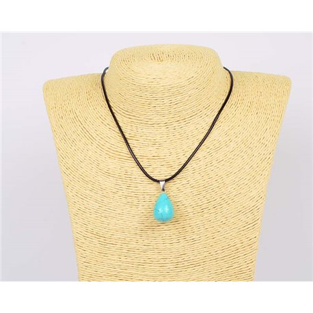 Pendant Necklace 20mm natural stone Turquoise on waxed cord L43-47cm 75937