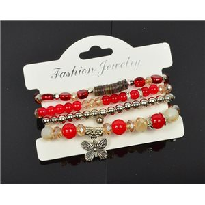 Bracelet CYBELE Manchette 4 rangs Collection Bead Charms et Bijoux sur fil élastic New Collection 75992