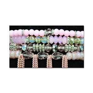 Bracelet CYBELE Cuff 4 rows Collection Bead Charms and Jewelry on elastic thread New Collection 76000