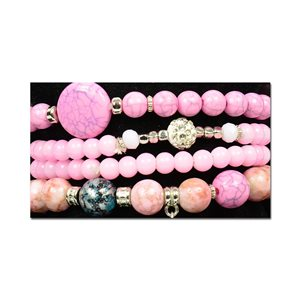 Bracelet CYBELE Cuff 4 rows Collection Bead Charms and Jewelry on elastic thread New Collection 76004