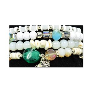 Bracelet CYBELE Cuff 4 rows Collection Bead Charms and Jewelry on elastic thread New Collection 76005