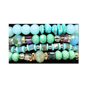 Bracelet CYBELE Manchette 4 rangs Collection Bead Charms et Bijoux sur fil élastic New Collection 76006