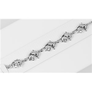 Silver Color metal bracelet set with Rhinestones L19 cm The Best Collection Chic 76033