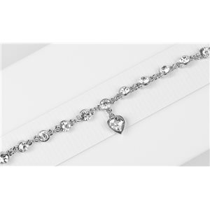 Bracelet métal Silver Color serti de Strass L19 cm The Best Collection Chic 76035