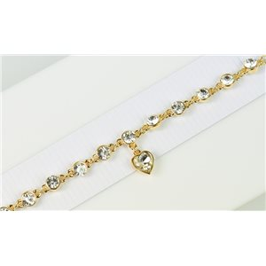 Bracelet métal Gold Color serti de Strass L19 cm The Best Collection Chic 76036