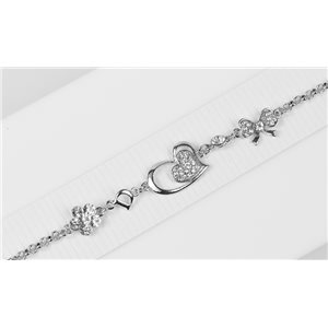 Bracelet métal Silver Color serti de Strass L19 cm The Best Collection Chic 76039