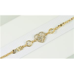 Bracelet métal Gold Color serti de Strass L19 cm The Best Collection Chic 76042