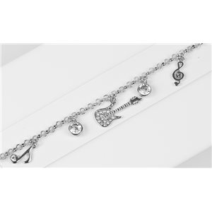 Silver Color metal bracelet set with Rhinestones L19 cm The Best Collection Chic 76007