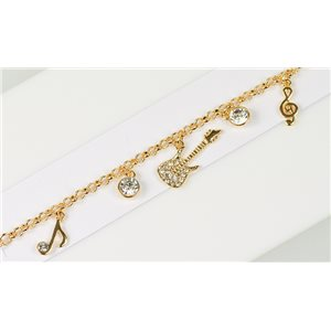 Gold Color metal bracelet set with Rhinestones L19 cm The Best Collection Chic 76008