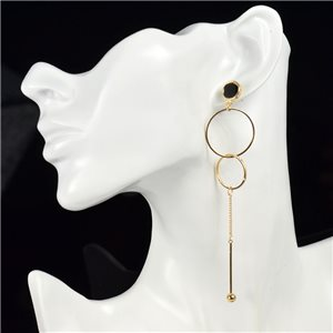 1p Earring Drop Earrings metal nail color GOLD New Graphika Style 76086