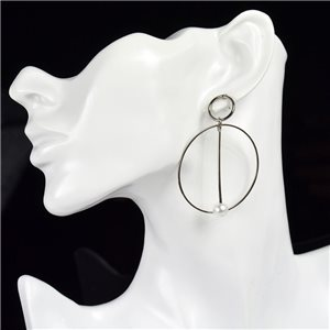 1p Earring Drop Earrings metal nail color Gray SILVER New Graphika Style 76090