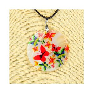 Collier Pendentif 5cm en Nacre naturelle Fashion Design L48cm New Collection 76186