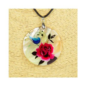 Pendant necklace 5 cm Natural Mother of Pearl Fashion Design L48cm New Collection 76206