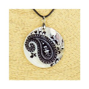 Pendant necklace 5 cm Natural Mother of Pearl Fashion Design L48cm New Collection 76221