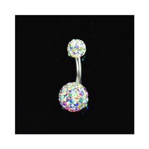 Piercing Banana nombril Acier 316L L10mm D1.6 New Collection Strass Irisé 68870