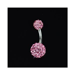 Piercing Banana nombril Acier 316L L10mm D1.6 New Collection Strass Rose 68871