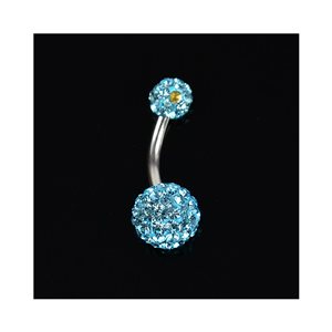 Piercing Banana nombril Acier 316L L10mm D1.6 New Collection Strass Bleu 68875