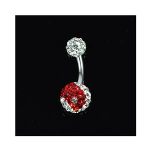 Piercing Banana navel Steel 316L L10mm D1.6 New Collection Rhinestones YING-YANG Red 68878