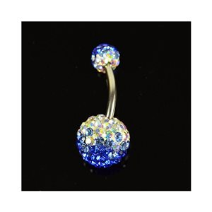 Piercing Banana nombril Acier 316L L10mm D1.6 New Collection Strass TriColor Bleu 68883
