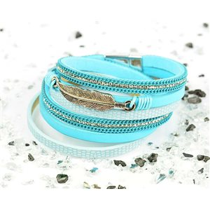 Cuff Bracelet Fashion Chic Leather Look and Rhinestone L38cm Magnetic clasp New Collection 76267