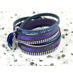 Bracelet manchette Mode Chic aspect Cuir et Strass L38cm fermoir Aimanté New Collection 76274