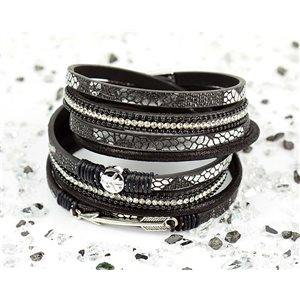 Cuff Bracelet Fashion Chic Leather Look and Rhinestone L38cm Magnetic clasp New Collection 76275