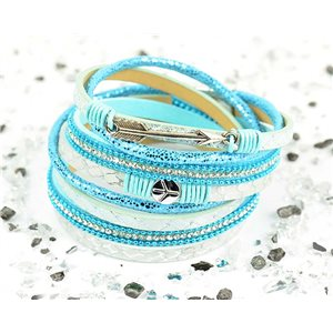 Cuff Bracelet Fashion Chic Leather Look and Rhinestone L38cm Magnetic Clasp New Collection 76279