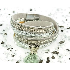 Bracelet manchette Mode Chic aspect Cuir et Strass L38cm fermoir Aimanté New Collection 76282