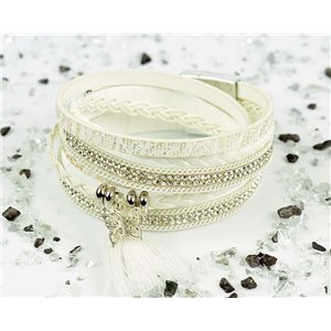 Cuff Bracelet Fashion Chic Leather Look and Rhinestone L38cm Magnetic clasp New Collection 76283