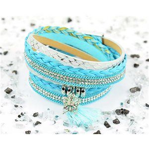 Cuff Bracelet Fashion Chic Leather Look and Rhinestone L38cm Magnetic clasp New Collection 76285
