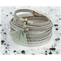 Bracelet manchette Mode Chic aspect Cuir et Strass L38cm fermoir Aimanté New Collection 76289