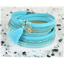 Cuff Bracelet Fashion Chic Leather Look and Rhinestone L38cm Magnetic clasp New Collection 76291