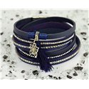 Cuff Bracelet Fashion Chic Leather Look and Rhinestone L38cm Magnetic Clasp New Collection 76292