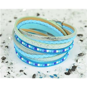 Bracelet manchette Mode Chic aspect Cuir et Strass L38cm fermoir Aimanté New Collection 76297
