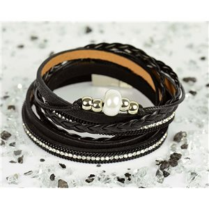 Bracelet manchette Mode Chic aspect Cuir et Strass L38cm fermoir Aimanté New Collection 76299