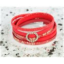 Cuff Bracelet Fashion Chic Leather Look and Rhinestone L38cm Magnetic Clasp New Collection 76308