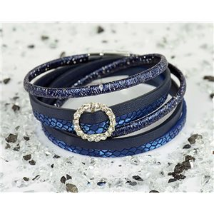 Bracelet manchette Mode Chic aspect Cuir et Strass L38cm fermoir Aimanté New Collection 76310