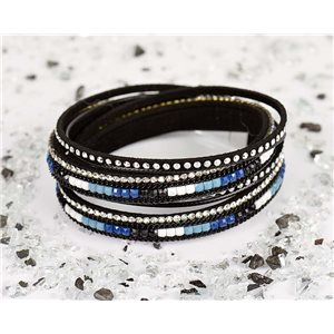 Bracelet manchette Mode Chic aspect Cuir et Strass L38cm fermoir Aimanté New Collection 76311