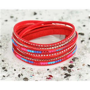 Cuff Bracelet Fashion Chic Leather Look and Rhinestone L38cm Magnetic clasp New Collection 76314
