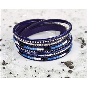 Bracelet manchette Mode Chic aspect Cuir et Strass L38cm fermoir Aimanté New Collection 76334